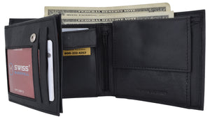 Mens RFID Leather Multi Credit Card ID Snap Bifold Wallet with Coin Pouch - wallets for men's at mens wallet