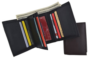 RFID Blocking Men's Premium Leather Trifold Flap ID Card Holder Wallet