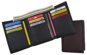 Trifold Men's RFID Blocking Premium Leather Classic Credit Card Holder Wallet
