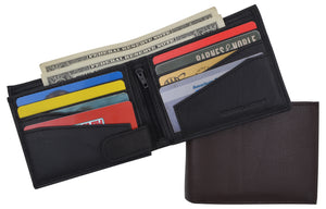 Premium Leather RFID Mens Credit Card ID Holder Wallet W/Interior Snap Closure