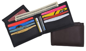 Men's Premium Leather RFID Bifold Wallet W/ Removable Front ID Card Holder