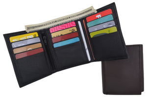 RFID Trifold Premium Leather Mens Card Holder Wallet W/ Outside ID Window