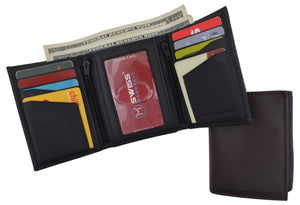 RFID Tested Men's Credit Card ID Holder Trifold Premium Leather Wallet