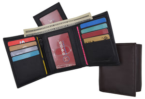 RFID Blocking Mens Trifold Wallet W/Removable Credit Card ID Holder