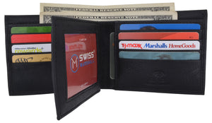 Swiss Marshall RFID Blocking Premium Leather Bifold Center Flap Card ID Wallet Gift Box