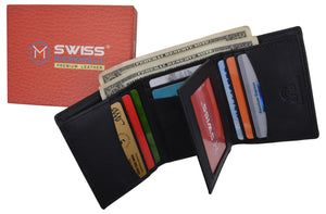 Swiss Marshall Mens RFID Blocking Premium Leather Classic Trifold Wallet Gift Box - wallets for men's at mens wallet