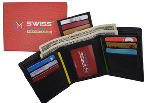 Black Mens Leather RFID Trifold Card ID Wallet W/ Removable Card Holder & Gift Box