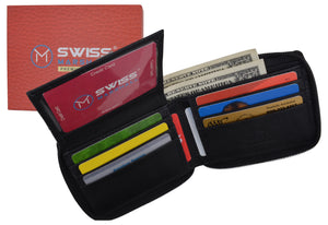 Men's Zipper RFID Blocking Premium Leather Zip-Around Credit Card ID Bifold Black Wallet Box