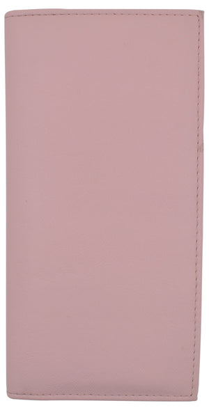 Basic PU Leather Checkbook Covers Light Pink - menswallet