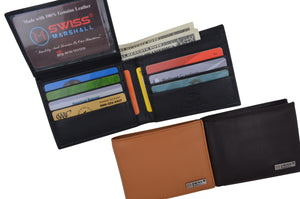 RFID Security Blocking Men's Slim Bifold Credit Card ID Leather Wallet Logo