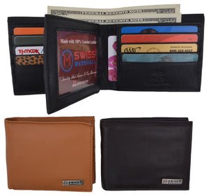Men's RFID Security Blocking Premium Leather Extra Capacity Card ID Bifold Wallet