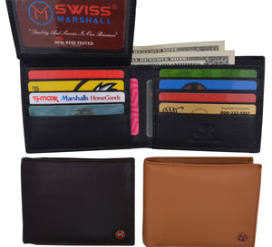 Men's Slim Bifold RFID Security Blocking Premium Leather Credit Card ID Wallet
