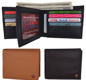 Bifold Men's RFID Security Blocking Leather Extra Capacity Credit Card ID Wallet