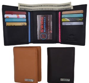 Men's Classic Trifold RFID Security Blocking Slim Credit Card ID Premium Leather Wallet