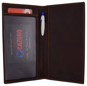 Mens Womens RFID Genuine Vintage Leather Basic Checkbook Cover Pen Holder