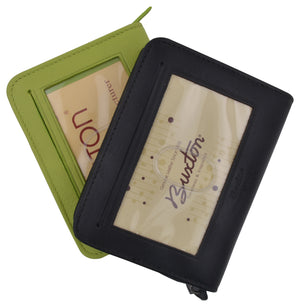 Buxton Leather Credit Card ID Holder Zippered Wallet - menswallet
