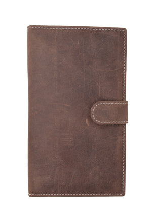 Men's RFID Blocking Soft Vintage Genuine Leather Bifold Credit Card Holder with Button Closure RFID1629HTC