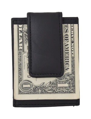 Amity Slim Magnetic Money Clip Front Pocket Genuine Leather Wallet Black