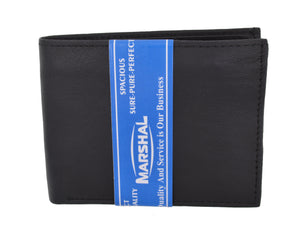 Mens Soft Genuine Leather Slim ID Bifold Wallet 60