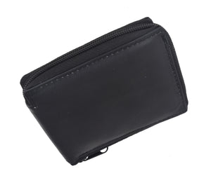 Mens Lamb Leather Zippered Bifold Flap up ID Wallet 1256