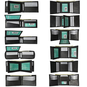 Wholesale New Black Mens Premium Leather Bifold & Trifold Wallets