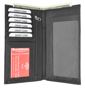 Slim Leather ID/Credit Card Holder Long Wallet with RFID Blocking