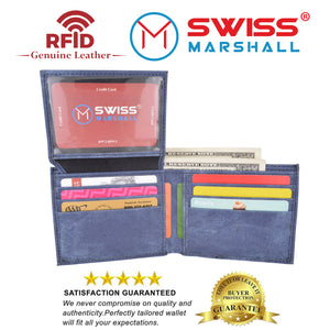 Swiss Marshall RFID Blocking Men's Vegan Leather 2 ID Windows Bifold Wallet