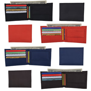 Wholesale Price Slim Nylon Boys Bifold Wallet with Coin Pouch Assorted Colors