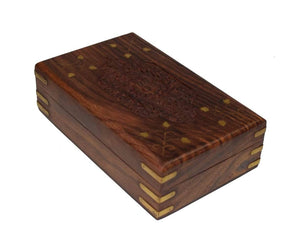 Cavelio Clothing, Shoes & Accessories Finest Rosewood Keepsake Box Jewelry Trinket Organizer Handcrafted with Floral Carvings, 8 x 5 inches