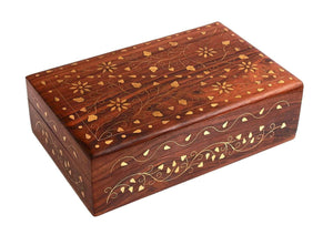 Cavelio Clothing, Shoes & Accessories Gorgeous Hand Carved Rosewood Trinket Jewelry Box with Mughal Inspired Brass Inlay & Velvet Interior Gift Ideas