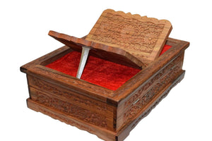 Cavelio Clothing, Shoes & Accessories Holy foldable Book Stand Wooden Handcarved Rehal Box For Quran,Bible,Gita,Gurugranth , , Christmas or Valentine's Day Gift