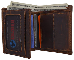 Brand New Cazoro RFID Bifold Trifold Hybrid Mens Distress Vintage Leather Wallet - wallets for men's at mens wallet