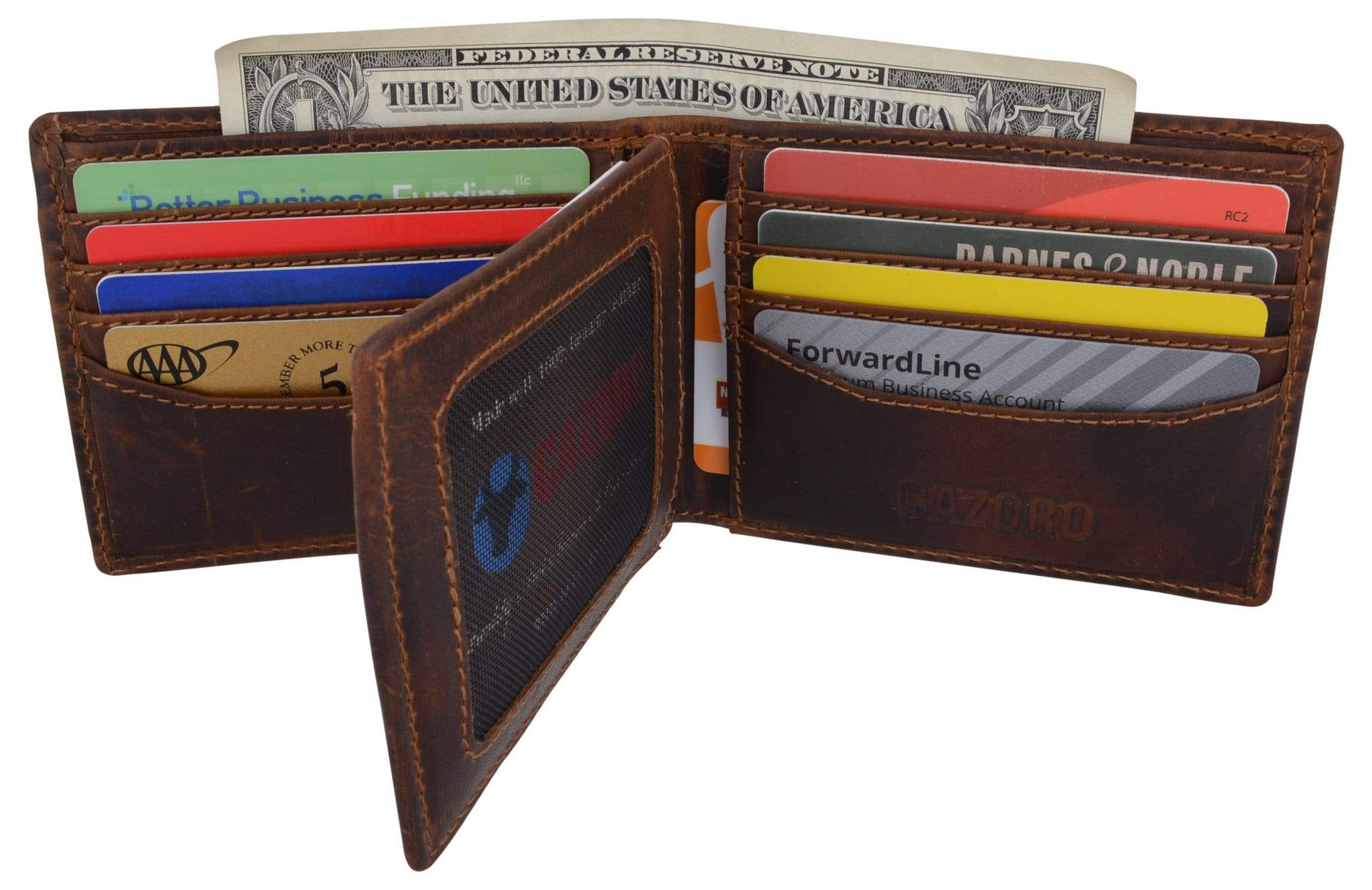 6fefe5b5a4c3 Cazoro Mens Distress Vintage Leather RFID Tested Credit Card ID Bifold  Wallet
