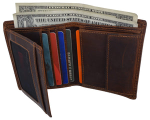 Cazoro Mens Hunter Leather RFID Bifold Trifold Card ID Wallet W/ Coin Pocket - wallets for men's at mens wallet