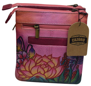 Cazoro Clothing, Shoes & Accessories Pink Cazoro Handpainted Wild Flowers Ladies Shoulder Crossbody Bag Leather Purse