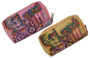 Cazoro Ladies Handpainted Bicycle Design Genuine Leather Double Zipper Women's Wallet - wallets for men's at mens wallet