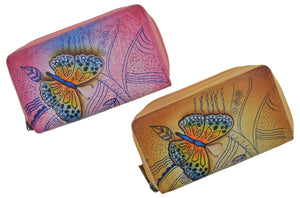 Cazoro Ladies Handpainted Butterflies Design Genuine Leather Double Zipper Women's Wallet - wallets for men's at mens wallet