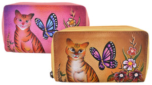 Cazoro Ladies Handpainted Cat, Butterfly & Roses Design Genuine Leather Double Zipper Women's Wallet - wallets for men's at mens wallet