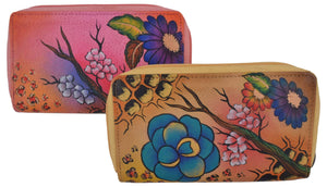 Cazoro Ladies Handpainted Fall Garden Design Genuine Leather Double Zipper Women's Wallet - wallets for men's at mens wallet