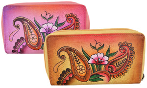 Cazoro Ladies Handpainted Floral Design Genuine Leather Double Zipper Women's Wallet - wallets for men's at mens wallet