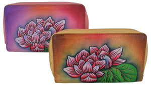 Cazoro Ladies Handpainted Flowers Design Genuine Leather Double Zipper Women's Wallet - wallets for men's at mens wallet