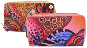 Cazoro Ladies Handpainted Garden with Fruits Design Genuine Leather Double Zipper Women's Wallet - wallets for men's at mens wallet
