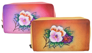 Cazoro Ladies Handpainted Roses Design Genuine Leather Double Zipper Women's Wallet - wallets for men's at mens wallet