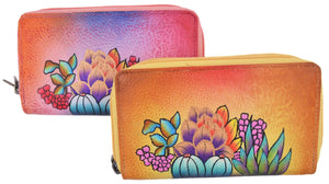 Cazoro Ladies Handpainted Spring Garden Design Genuine Leather Double Zipper Women's Wallet - wallets for men's at mens wallet