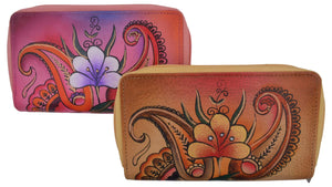 Cazoro Ladies Handpainted Tropical Design Genuine Leather Double Zipper Women's Wallet - wallets for men's at mens wallet
