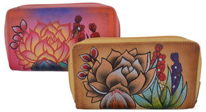 Cazoro Ladies Handpainted Wild Flowers Design Genuine Leather Double Zipper Women's Wallet - wallets for men's at mens wallet