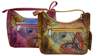 Cazoro Clothing, Shoes & Accessories Pink Cazoro Small Ladies Genuine Leather Handpainted Butterflies Shoulder Bag Purse