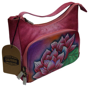Cazoro Clothing, Shoes & Accessories Pink Cazoro Small Ladies Genuine Leather Handpainted Flowers Shoulder Bag Purse