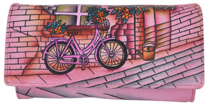 Cazoro Clothing, Shoes & Accessories Pink Cazoro Women's Genuine Leather Handpainted Bicycle Deluxe Clutch Wallet