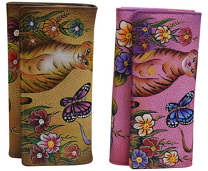 Cazoro Women's Genuine Leather Handpainted Cat, Butterfly & Roses Deluxe Clutch Wallet - wallets for men's at mens wallet